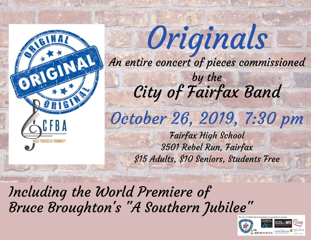 "City of Fairfax Band Presents ""Originals"" on October 26, 2019"