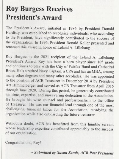 ACB article about Roy Burgess receiving ACB president's Award